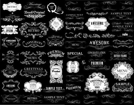 Set of calligraphic and floral design elements. Banco de Imagens - 27136670