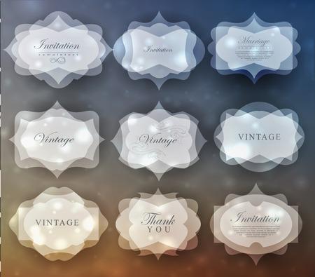 Elegant transparent invitation card and label in retro style. Vector Illustration
