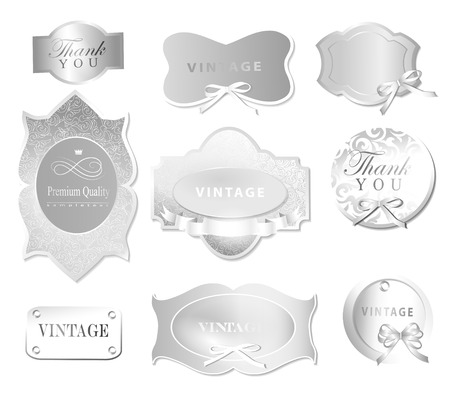 Set of retro labelsgreeting card, with bow for designDesign template can be used banners, invitation, congratulation or website layout vector Vector