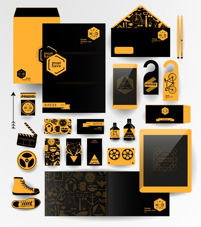 Abstract  business set in hipster style. Corporate identity templates: blank, business cards, badge, envelope, pen, Folder for documents, Tablet PC,  Mobile Phone