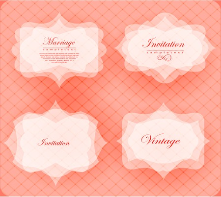 Elegant transparent invitation card and label in retro style. Vector