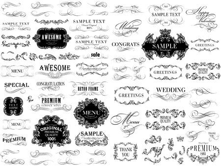 Set of calligraphic and floral design elements. Banco de Imagens - 27136832