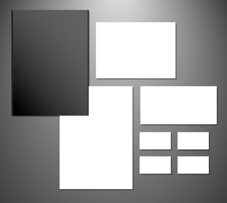 Abstract  business set. Corporate identity templates: blank, business cards, badge, envelope Vector