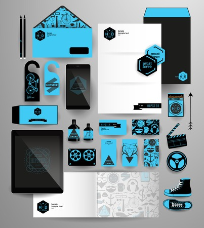 Abstract  business set in hipster style. Corporate identity templates: blank, business cards, badge, envelope, pen, Folder for documents, Tablet PC,  Mobile Phone Vector
