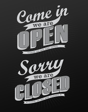 Open Vintage retro signs  vector illustration can be used for invitation, congratulation or website Vector
