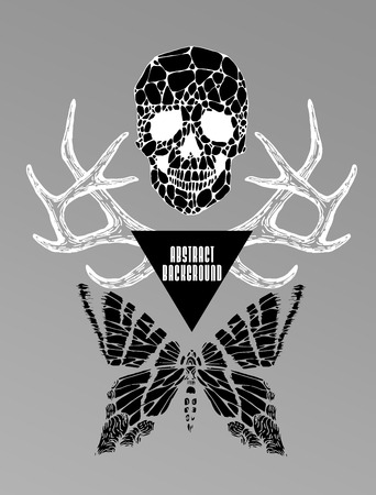 sacral: Abstract  gothic sacral illustration with polygon,  crystal design element, symbol, sign for tattoo