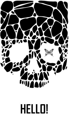 Abstract  gothic sacral skull with polygon,  crystal design element, symbol, sign for tattoo Vector