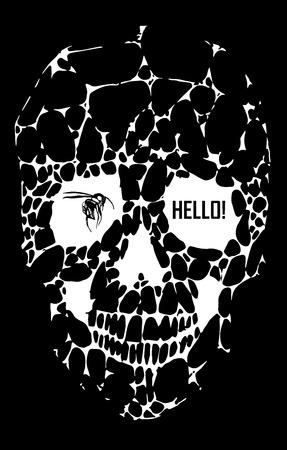 sacral: Abstracte gotische sacrale schedel met polygoon, kristal ontwerp element, symbool, teken voor tattoo Stock Illustratie