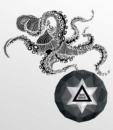 tattooed: Abstract hipster poster, illustration drawn by hand, with polygon ,  crystal design element, symbol, sign for tattoo