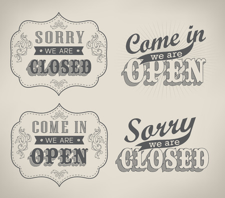 Open Vintage retro signs  vector illustration Vector