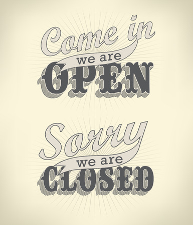 Open Vintage retro signs   Vector