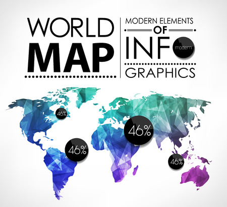 communication concept: Polygonal World map card. Modern geometrical elements of info graphics. World Map, typography.