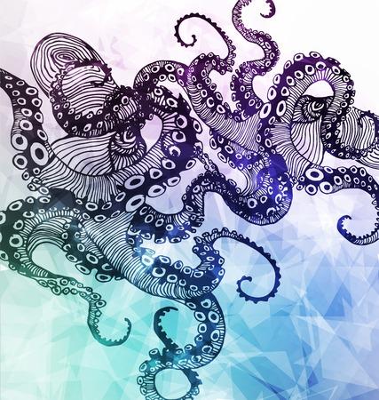tombes: R�sum� Octopus, �l�ment de hippie, dessin� � la main illustration moderne avec polygone, cristaux design, symbole, signe pour le tatouage