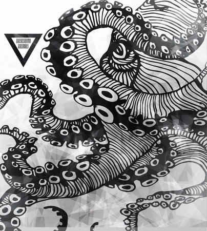 Abstract Octopus, hipster element,  drawn by hand modern illustration with polygon,  crystal design element, symbol, sign for tattoo Фото со стока - 27137461