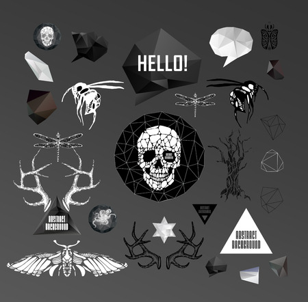 tattooed: Abstract  hipster element,  drawn by hand illustration with polygon,  crystal design element, symbol, sign for tattoo