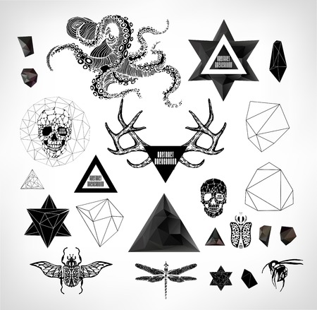 Abstract  hipster element,  drawn by hand illustration with polygon,  crystal design element, symbol, sign for tattoo Vector