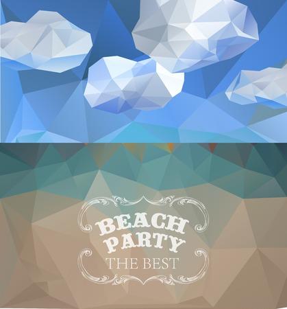 sammer: Polygonal seaside view sammer poster. Polygonal background illustration Illustration