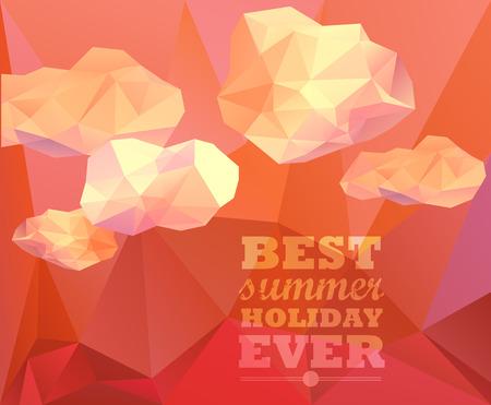 sammer: Polygonal sky  and cloud, sammer poster. Polygonal background, illustration