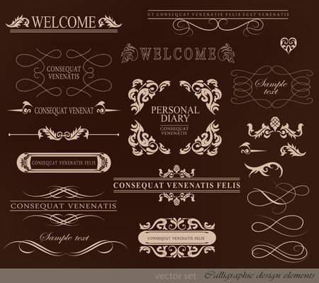 ribbon vector set: calligraphic design elements and page decoration with ribbon vector set