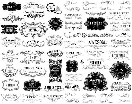 Set van kalligrafische en bloemen ontwerp elementen kunnen worden gebruikt voor de uitnodiging, felicitatie Stockfoto - 27137621