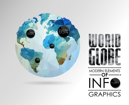 world globe map: world globe, 3d triangular map of the earth. Modern elements of info graphics. World Map Illustration