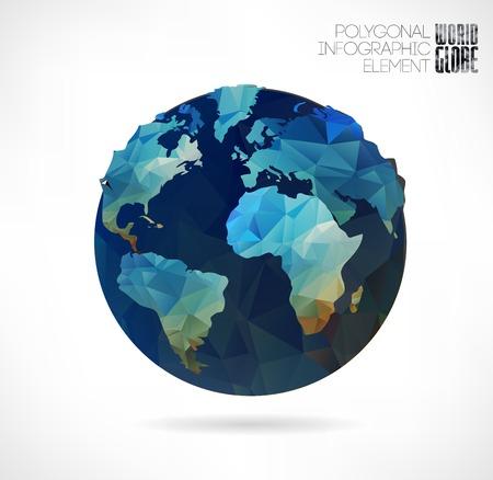 globo terraqueo: globo del mundo, mapa triangular 3d de la tierra. Elementos modernos de informaci�n gr�fica. Mapa del Mundo
