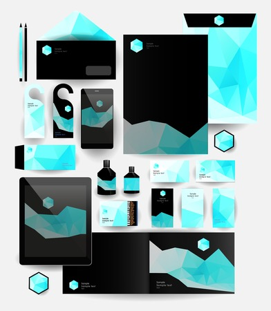 Abstract polygonal business set. Geometric, triangles. Corporate identity templates: blank, business cards, badge, envelope, pen, Folder for documents, Tablet PC,  Mobile Phone Vector