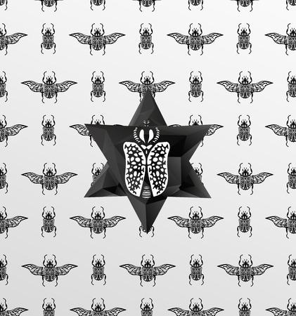 sacral: Abstracte gotische sacrale naadloze patroon, kristal ontwerp element, symbool, teken voor tattoo