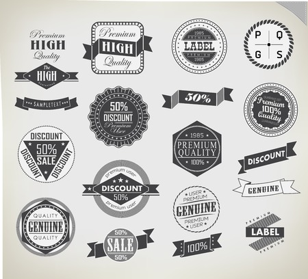 Premium Quality, Guarantee and sale Labels typography design photo
