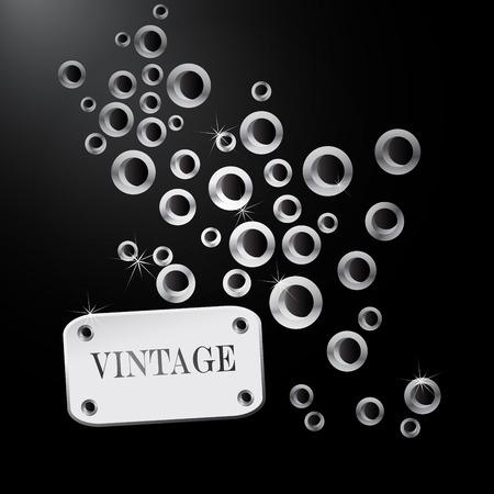 Abstract retro background with stud and retro label and. photo