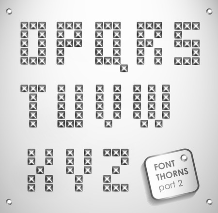 silver font with stud  can be used banners, invitation, congratulation or website silver metal stud Stock Photo