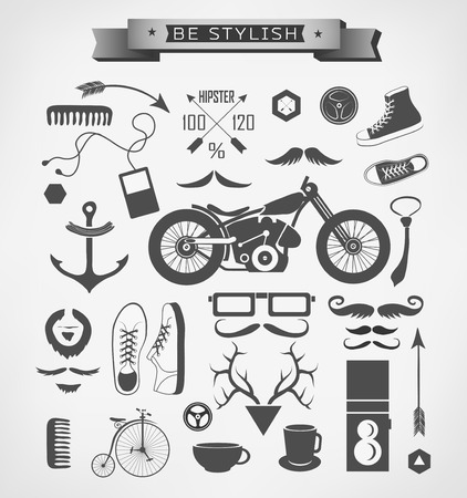 Hipster style elements, icon and object can be used for  retro vintage  website, info-graphics, banner photo
