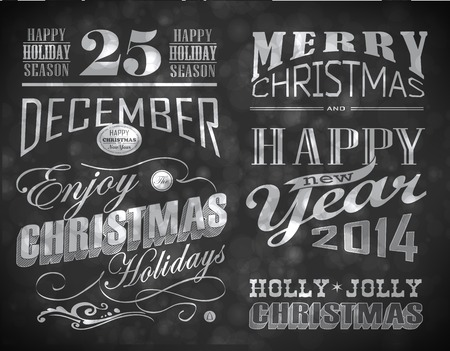 christmas invitation: Christmas and Happy New Year typography, labels, calligraphic elements Stock Photo