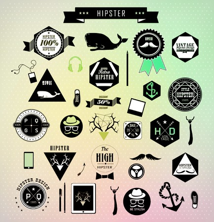 Set of hipster colorful modern label and icon photo