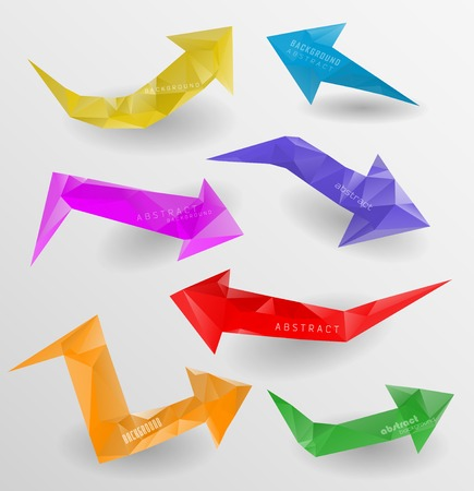 Arrow icon set.  Three-dimensional polygonal arrows photo