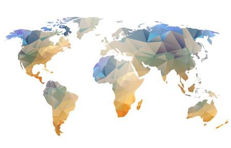 Wereldkaart achtergrond in veelhoekige stijl kan worden gebruikt voor de website, info-graphics, banner.