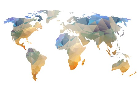 World map background in polygonal style  can be used for website, info-graphics, banner. Banco de Imagens - 27295708