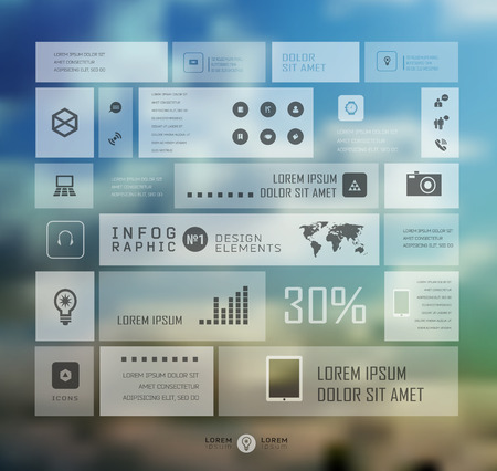 Infographic business template on blur landscape background. Transparent and shadows icon and elements for web and mobile design . Ilustração