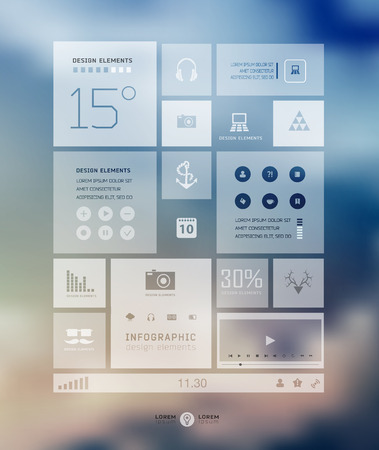 design resource: Infographic business template on blur landscape background. Transparent and shadows icon and elements for web and mobile design . Illustration