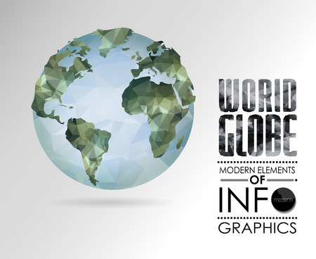 Vector world globe, 3d triangular map of the earth. Modern elements of info graphics. World Map Vector