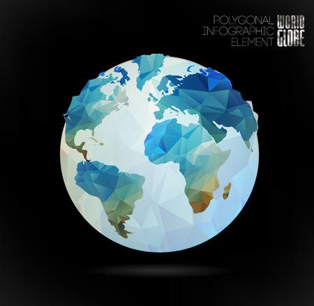 mapas conceptuales: Vector mundo globo, mapa triangular 3d de la tierra. Elementos modernos de informaci�n gr�fica. Mapa del Mundo Vectores