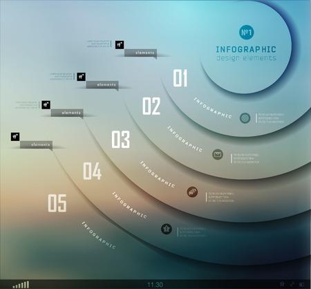 ruban noir: Infographies commerciales transparentes, éléments plates. Les options Ombres, schéma sur flou paysage