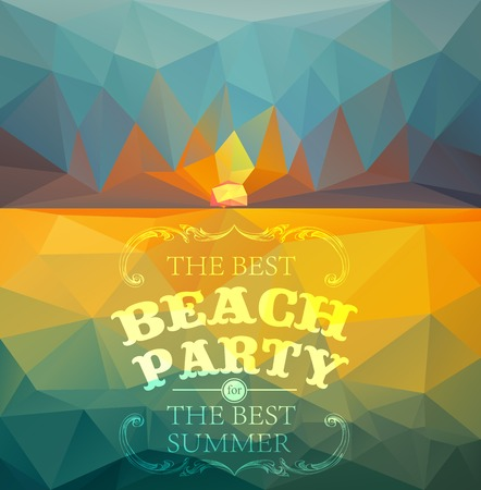 Polygonal seaside view sammer poster  with typography elements. Polygonal background illustration