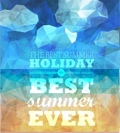 summer border: Polygonal seaside view sammer poster  with typography elements. Polygonal background illustration