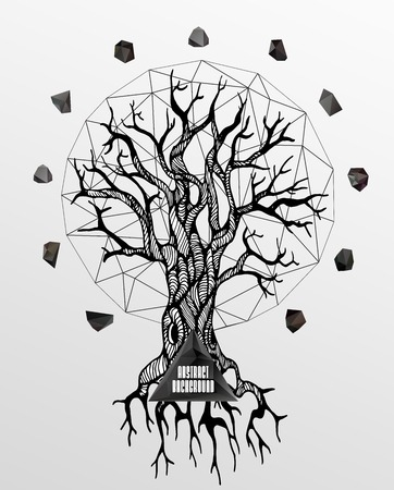 tattooed: Abstract hipster poster with illustration drawn by hand and polygonal design element, symbol, sign for tattoo