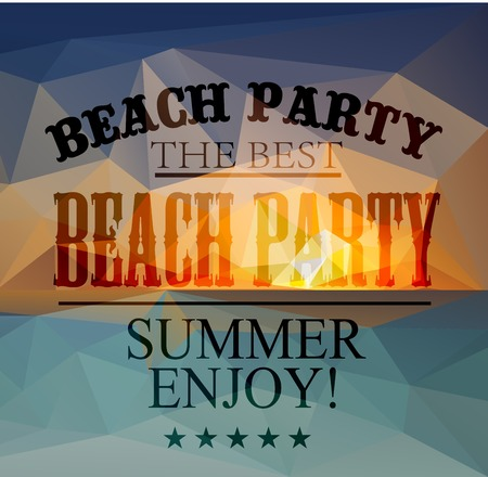 Polygonal seaside view sammer poster with typography elements. Polygonal background illustration Illustration