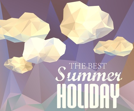 sammer: Polygonal sky  and cloud, sammer poster with typography elements. Polygonal background, illustration