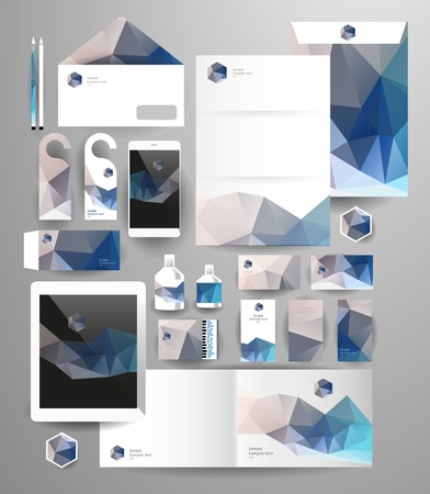 pen tablet: Abstract polygonal business set. Geometric, triangles. Corporate identity templates blank, business cards, badge, envelope, pen, Folder for documents, Tablet PC,  Mobile Phone