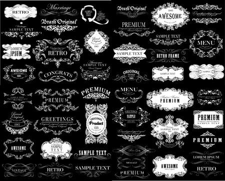 Insieme di elementi di design calligrafica e floreali possono essere utilizzati per l'invito, congratulazioni Archivio Fotografico - 42598465
