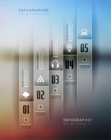 step up: Transparent business Infographics, plat elements. Shadows options, diagram on blur landscape can be used for workflow layout, banner, step up options,  number options,  web template